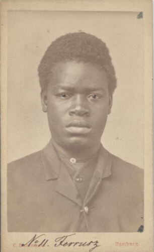 CDV PORTRAIT OF YOUNG AFRICAN MAN W/ COLORED EYES - HAMBURG, GERMANY