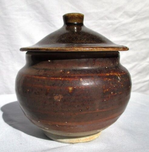 Antique Chinese Song Dynasty Jizhou Brown Glaze Covered Wide Mouth Jar