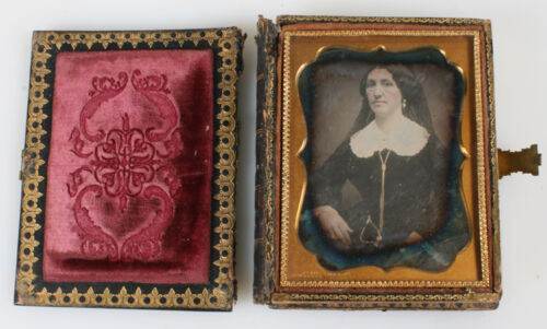 TWO DAGUERREOTYPE PORTRAITS OF COUPLE W/ GILDED JEWELRY IN STUNNING PEARL CASE