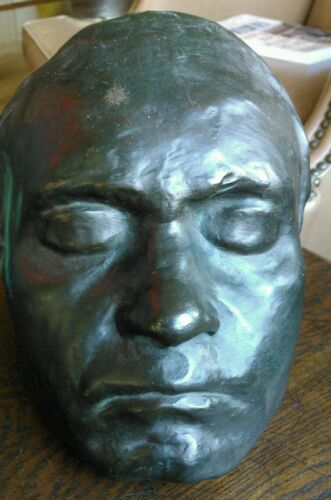 Rare Antique 19th c Bronze Life Mask of Ludwig van Beethoven Classical Metal Art
