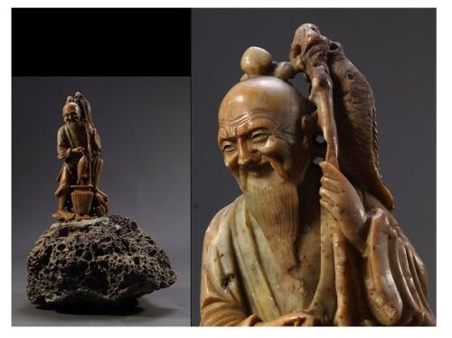 Chinese Shoushan Soap Stone Statue /  W 20.5 × 17 × H 29.5 [ cm ]  1430g