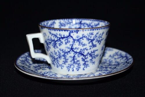 RARE 19th Century Antique Blue White Porcelain Cup & Saucer Seaweed Pattern