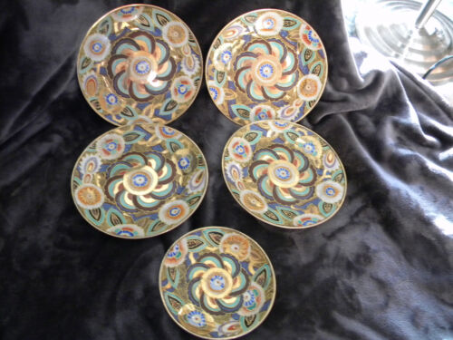 HAND PAINTED ENAMEL/PORCELAN PLATES-SET OF 4 + 1 SMALLER/BEATIFUL/MULTI-COLORED