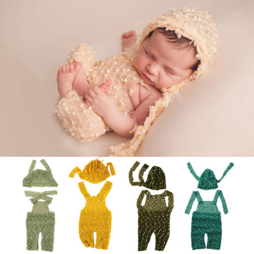 Newborn Baby Girls Boys Knit Crochet Romper Hat Photo Photography Props Outfit