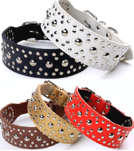 Studded Spiked Metal Dog Collage Faux Leather Collar Pitbull Mastiff BLACK RED <br/> #1 SELLER! Same Day Shipping!