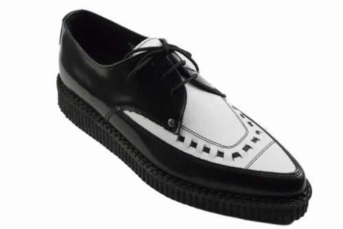 Steel Ground Shoes Black White Point Leather Creepers Lace Up Pointed