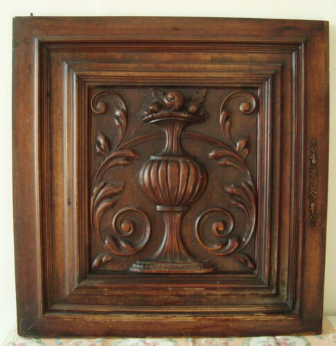 GORGEOUS FRENCH ANTIQUE CARVED ARCHITECTURAL PANEL DOOR URN FRUITS ACANTHUS LEAF