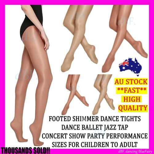 FOOTED SHIMMER TIGHTS TIGHT DANCE STOCKINGS BALLET JAZZ TAP SIZE CHILD TO ADULT <br/> **THOUSANDS SOLD!! HIGH QUALITY CONCERT SHOW PERFORM**