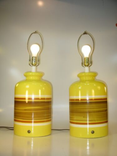 Vintage Mid Century Retro Yellow Large Table Lamps Ceramic Art Pottery