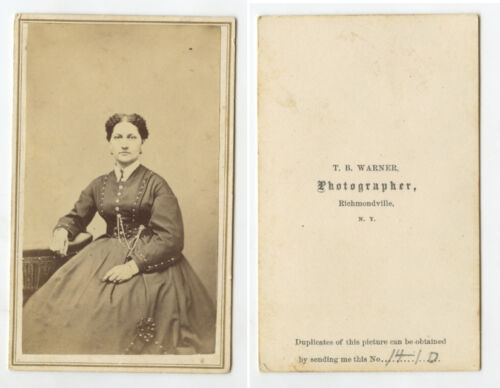 CDV STUDIO PORTRAIT LADY FROM RICHMONDVILLE, NY, BY WARNER