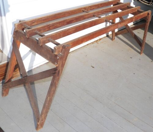 VTG WOOD FOLDING WASH TUB BENCH STAND COFFEE TABLE SIZE