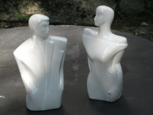 Pair of Stylized Porcelain Figures 1970's 80's