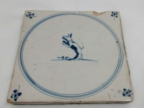 Antique Blue Dog Animal Hand Painted Ceramic Tile