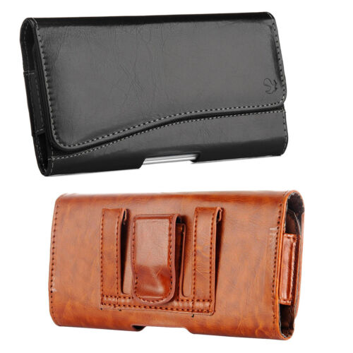 Cell Phone Pouch Horizontal Leather Case Belt Clip Holster For iPhone Galaxy