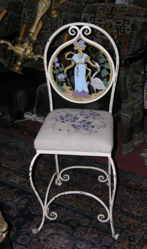 Antique Ptd Wrought Iron Side Chair Girl & Goose Motif Back & Needlepoint Seat