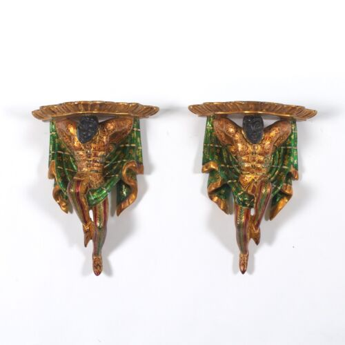 Pair of Venetian Carved Wood and Gilt Polychrome Blackamoor Wall Brackets