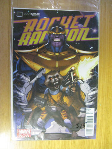 ROCKET RACCOON #1, EXCLUSIVE LOOTCRATE VARIANT, THANOS. (SEALED BAG)