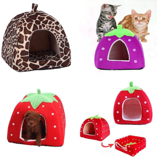 Soft Strawberry Pet Dog Bed Cat Nest Warm House Kennel Doggy Cushion Basket New
