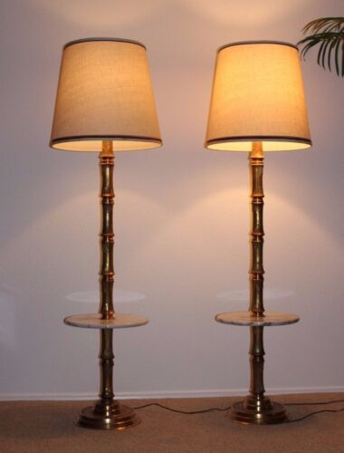 Mid C Modern Hollywood Regency Gilded Brass Bamboo Floor Lamps Marble Table