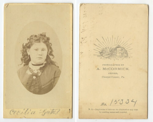 CDV STUDIO PORTRAIT YOUNG LADY IDED ON FRONT FROM CHESTER CO, PA