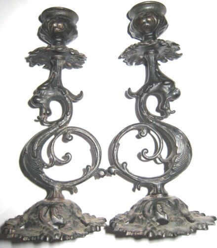 Antique Cast Iron Victorian Gothic Griffin Candle Holders Pair Gryphon Ornate 2