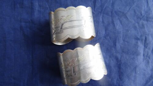 Great Pair Russian Antique Imperial 84 Silver Gold Wash Engraved Napkin Rings