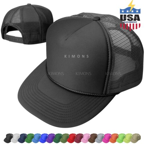 Foam Mesh Trucker Hat Baseball Cap Adjustable Snapback Solid Plain Ball