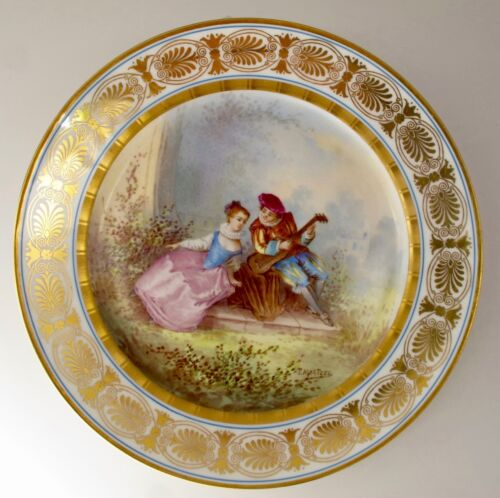 ANTIQUE SEVRES STYLE PARIS PORCELAIN GOLD CABINET PLATE c.1869
