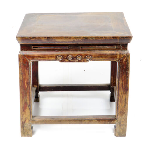 """Antique Chinese Small Elm Wood Stool Bench, Plant Stand 19"""" x 19"""" x 18"""""""