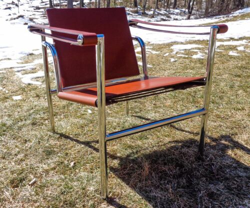 LE CORBUSIER BASCULANT LC1 LEATHER & CHROME SLING LOUNGE CHAIR by CASSINA, ITALY