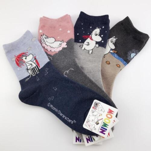 Moomin Valley Moomintroll Novelty Cartoon Ankle Socks Kawaii Harajuku Size 35-40