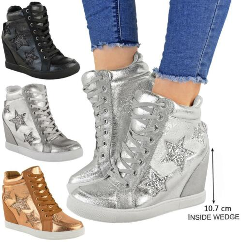 Womens Ladies Hidden Wedge Lace Up Trainers High Top Sneakers Glitter Shoes Size