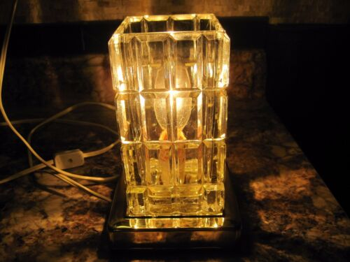 """Etched Art Deco Cube Glass Crystal Accent Table Lamp 7"""" Height"""
