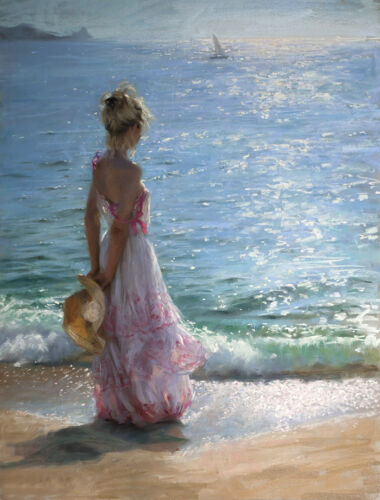 Girl watching the sea Oil Painting Wall picture Art Printed on canvas L1348