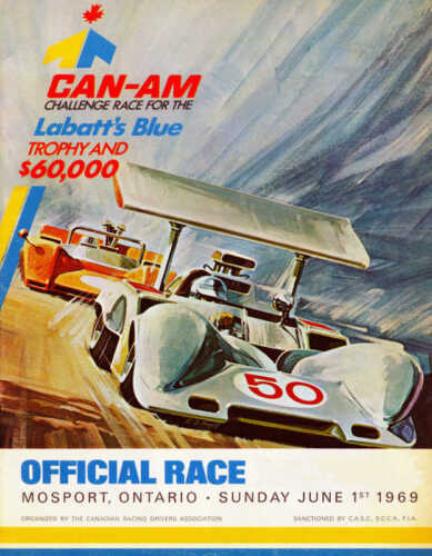 VINTAGE 1969 CAN AM AUTO RACING POSTER PRINT 36x28 9MIL PAPER