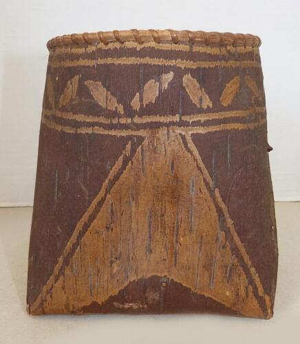 VERY EARLY MAINE PASSAMAQUODDY DECORATED BIRCH BARK BERRY BASKET - VG COND.