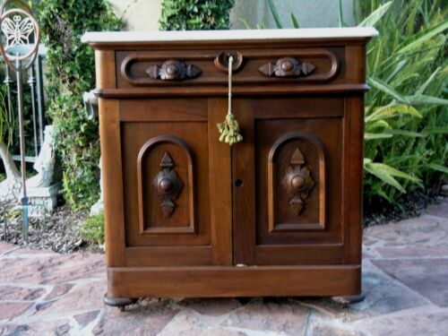 ANTIQUE Spanish Colonial Mission Wood Side Table Night Stand W. Travertine Top
