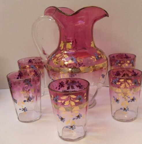 Antique Water/Iced Tea Pitcher &  5 Glasses Victorian Pink Flashed Gold Trim
