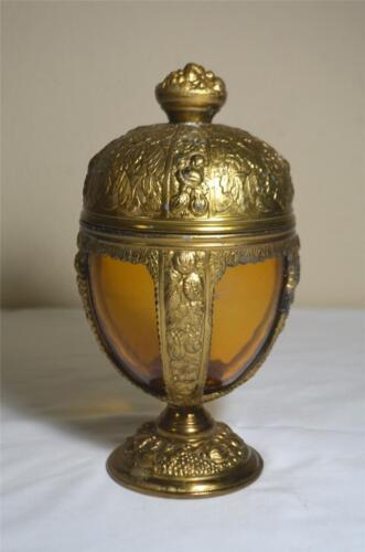 Vintage P.N.C.W. Repousse Brass & Caged Amber Glass Chalice/Urn w/ Lid