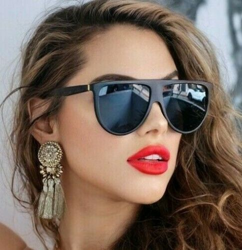 "Sunglasses SHADOW Thin Teardrop ""BLACK"" Oversized Flat Top Aviator Women SHADZ"