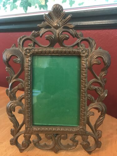 "Vtg Antique Heavy Cast Metal Picture Frame Ornate Art Nouveau 3.5"" x 5"" Photo"
