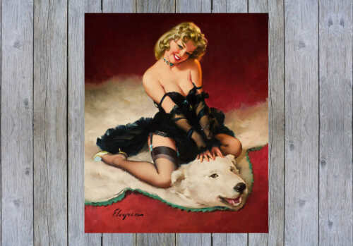 'BEAR FACTS' 1962 GIL ELVGREN VINTAGE STYLE PINUP GIRL ON RUG POSTER PRINT 36x30