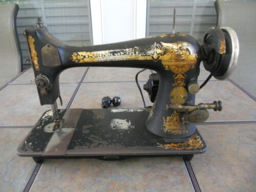 1910 Singer Model 27 Electric Sewing Machine, Runs, w/Pedal, Light & Manual