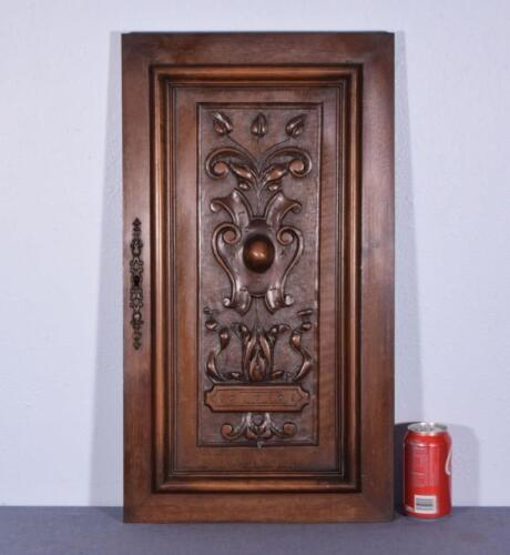 French Antique Deeply Carved Panel/ Door Solid Walnut Wood
