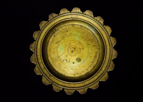 MOGHUL EMPIRE, C.1800-45 SOLID BRASS SCALLOPED EDGED SERVING TRAY W/ORIG. PATINA