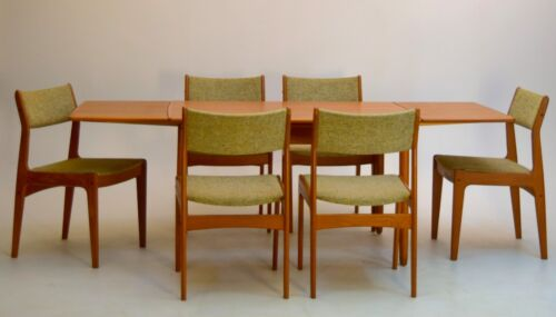 Danish Teak Dining Table Extension leafs set chairs Vintage mid century modern