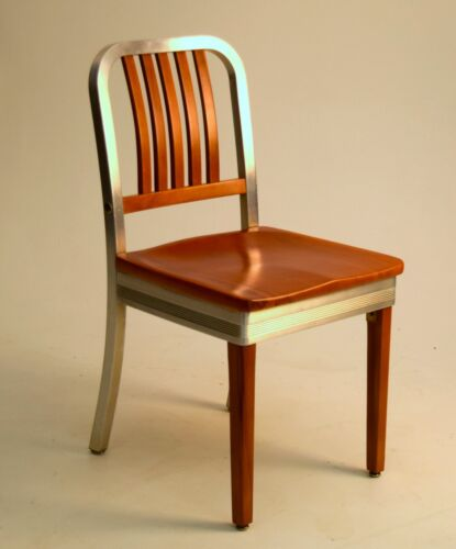 Art Deco Mid Century Modern desk side chair SHAW WALKER aluminum wood vintage