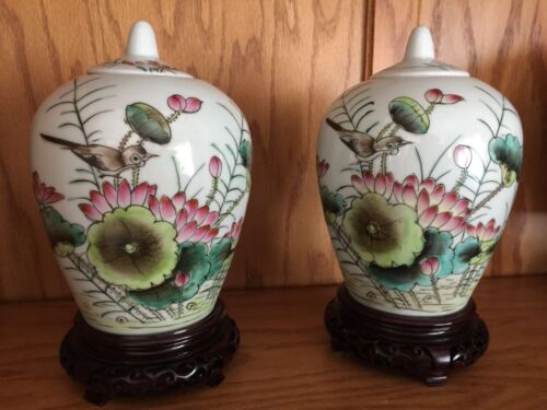 19th C Chinese Hand Painted Porcelain Qing Ginger Jars/Urns