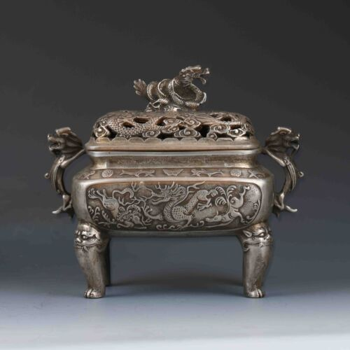 Chinese Tibetan Silver Hand-carved Dragon Incense Burner&Lid XuanDe Mark