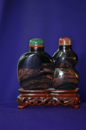 Vintage Double Agate Snuff Bottle with red & green stoppers